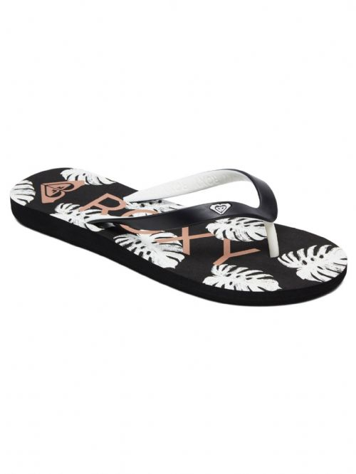 ROXY WOMENS FLIP FLOPS.NEW TAHITI VI BLACK WHITE SURF THONGS BEACH SANDALS 9S 69